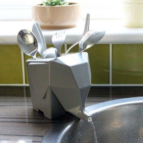 Para que lavar sea mas divertido que de los cubiertos se ocupe el elefante. Escurridor de cubiertos