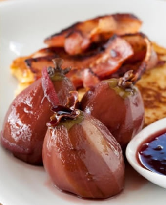Poached feijoas with french toast and crispy bacon - and other feijoa recipes