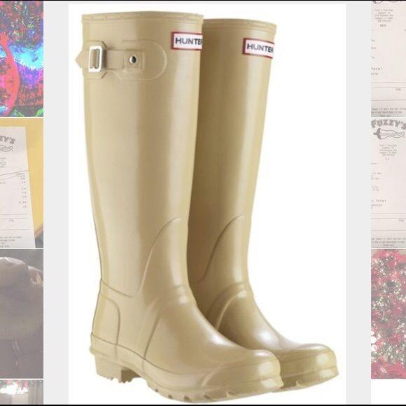Hunter Tall Original Rain Boot in Tan Hunter Tall Rain Boots in Tan Hunter Boots Shoes Winter & Rain Boots