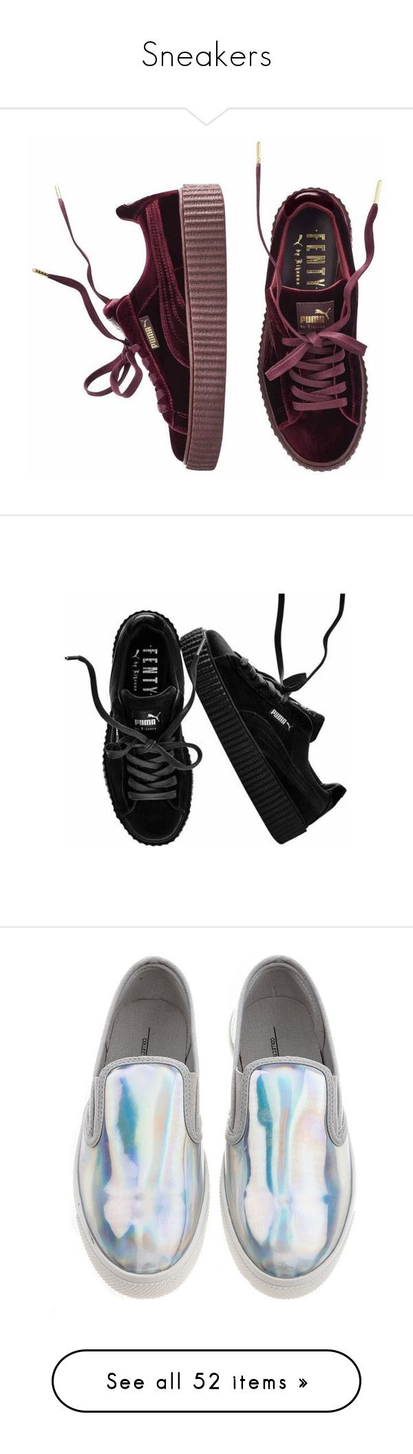 """""""Sneakers"""" by gabriel-sampaiooo on Polyvore featuring shoes, sneakers, special occasion shoes, puma footwear, velvet shoes, cocktail shoes, puma creeper, shoes - sneakers, creeper sneakers e puma sneakers"""
