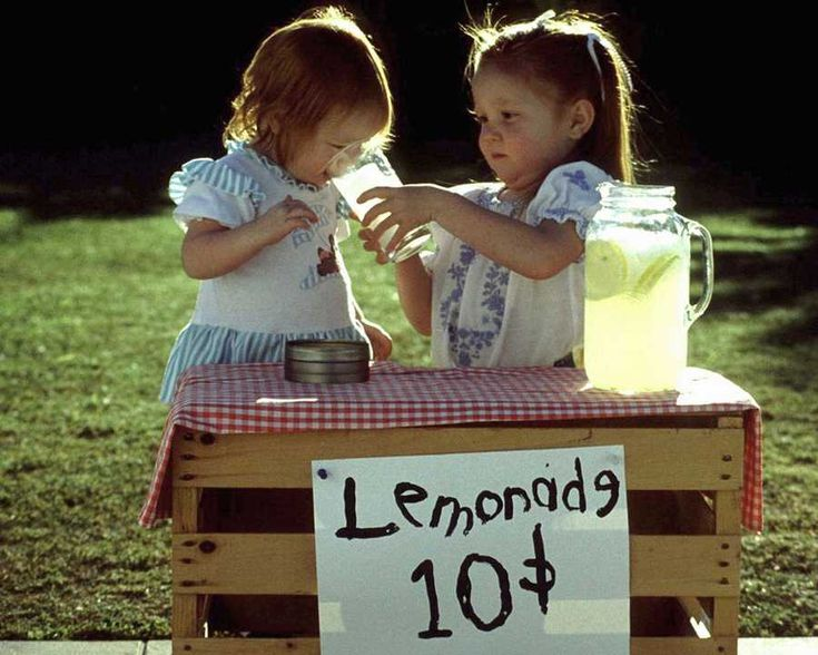 Lemonade stand.  I did it, too when I was a kid...
