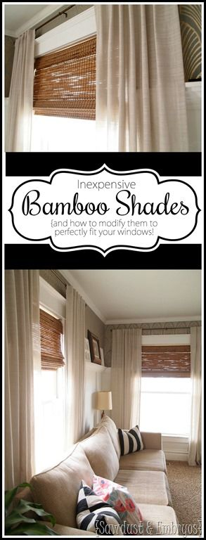 Detailed instructions on cutting woven bamboo shades to perfectly fit your windows! [Sawdust & Embryos}