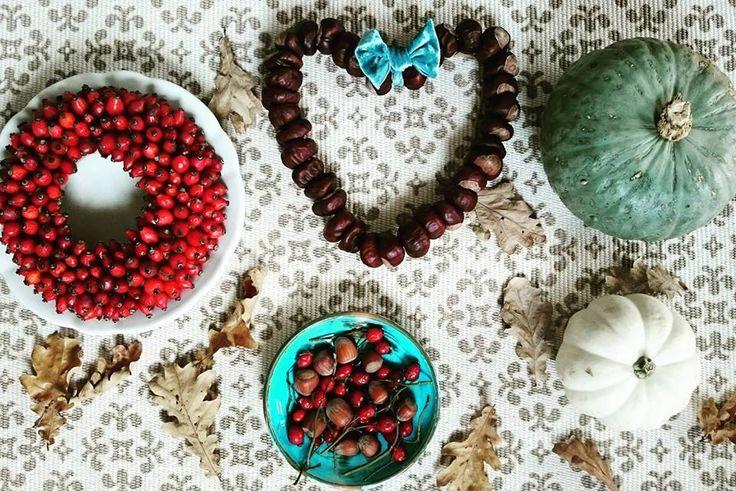 Ősz, díszek, tök, csipkebogyó koszorú, falevél, gesztenyeszív....Autumn, decorations, pumpkin, rose hip wreath, tree leaves, chestnut heart ....