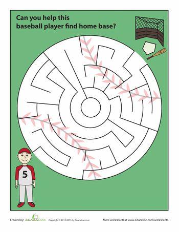 Baseball Maze Maze Worksheet Baseball Activities