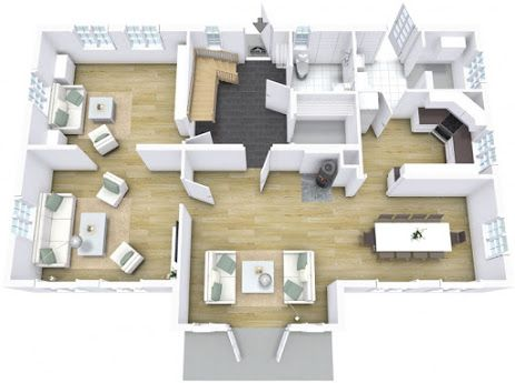 Floor Plan Featuring Multiple Materials Hardwood Floors And Down Stairs Designed In Business Edition Floor Planner