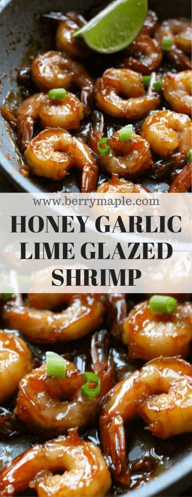 Easy Honey garlic lime glazed shrimp on a skillet recipe - Berry&Maple  #shrimp  #easy #seafood #easyrecipe #kidfriendly #stickyfood #glazedshrimp #quicksnack