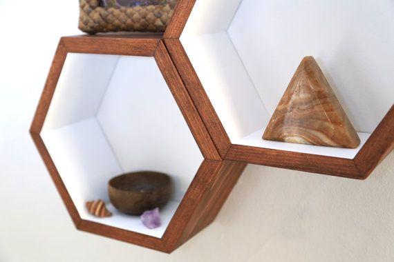 Cubby Shelves - Set of 5 Medium Size Honeycomb Shelves - Modern Geometric Hexagon Shelves - Wood Floating Shelves on Etsy, $194.74 CAD