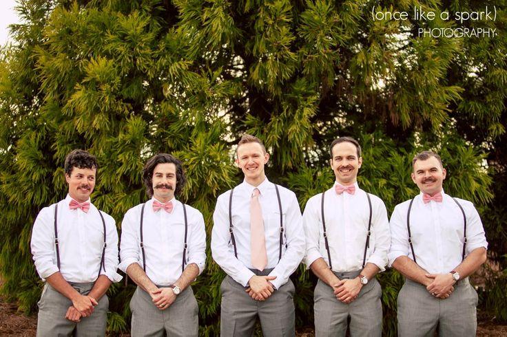 Wedding Fashion Pink Bowties Gray Pants Suspenders Ideas