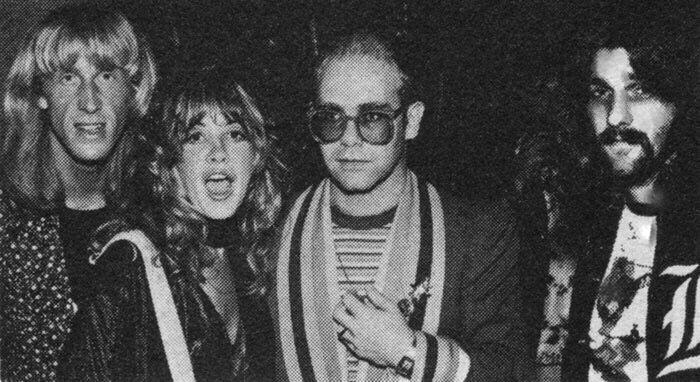 Stevie Nicks, Elton John Glenn Frey, not sure who the blonde man is