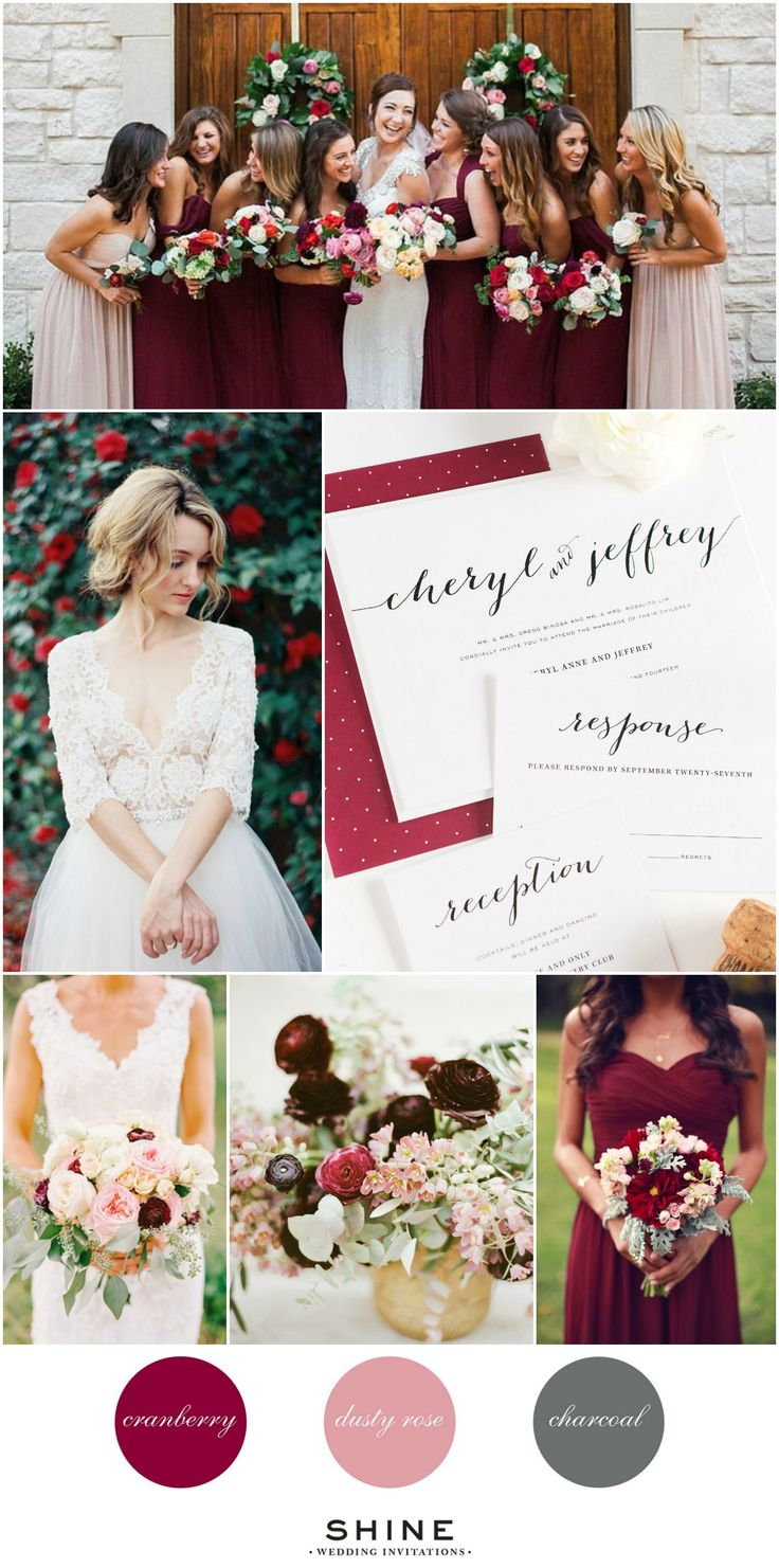Burgundy, Blush, and Charcoal Wedding Inspiration - Cranberry Wedding Invitations, Lace Wedding Dress, Red Ranunculus, Marsala Bridesmaids Dresses, Blush Bridesmaids Dress, Garden Rose Bouquet, Calligraphy Stationery Suite