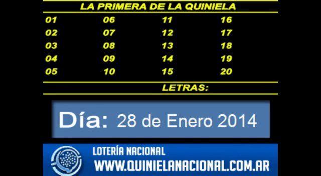Loteria Nacional - La Quiniela Nacional Primera Martes 28 de Enero de 2014. Fuente: www.quinielanacional.com.ar