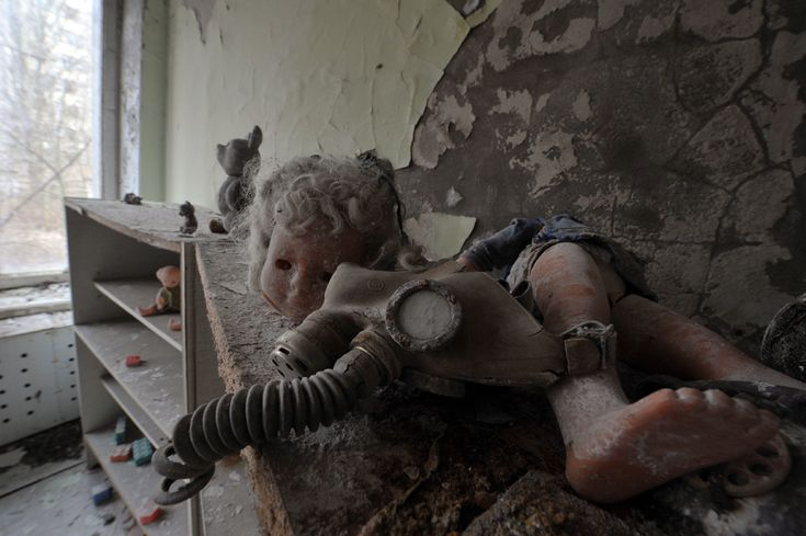 A gas mask and children's toys gather dust in a kindergarten in the ghost city of Pripyat on April 4.