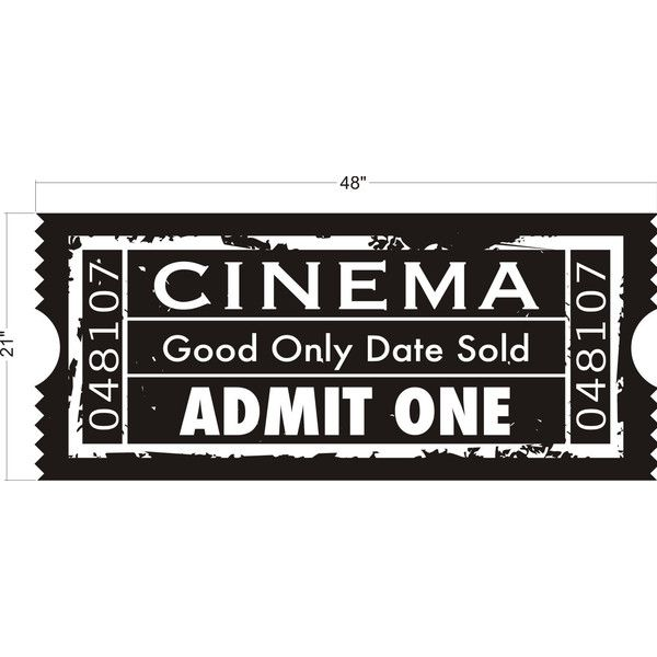 Wall Decal Ticket Stub Cinema Film Movie Theater Concert Admit One... (€41) ❤ liked on Polyvore featuring fillers, tickets, accessories, backgrounds, text, quotes, phrase and saying