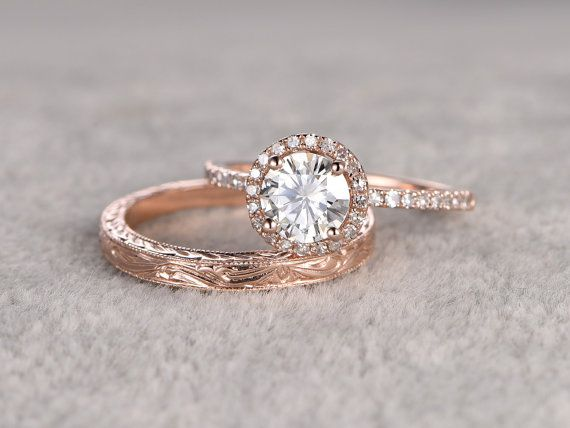 2 Moissanite bruids Set Engagement ring Rose goud door popRing