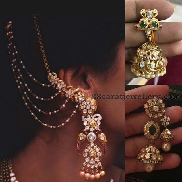 Latest Polki Diamond Jhumkas