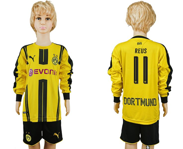 16-17 dortmund home long sleeve kid youth yellow BVB soccer jersey kids football jerseys child kits children cheap uniform kid uniforms replica kit | replica scocer jersey