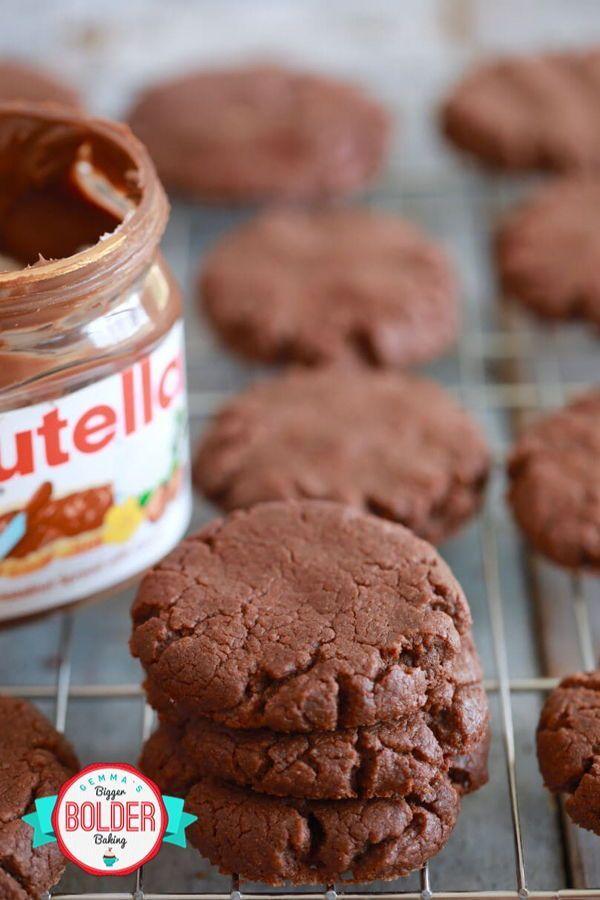 3 Zutaten Nutella Cookies! Diese Cookies sind wirklich so einfach wie 1,2,3. Ger…