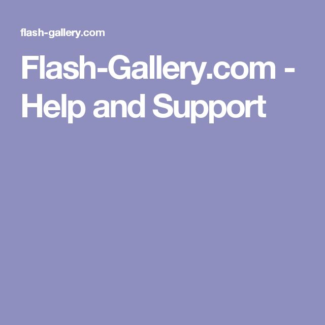 Flash-Gallery.com - Help and Support