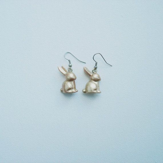 golden bunny earrings by OtinyuO on Etsy