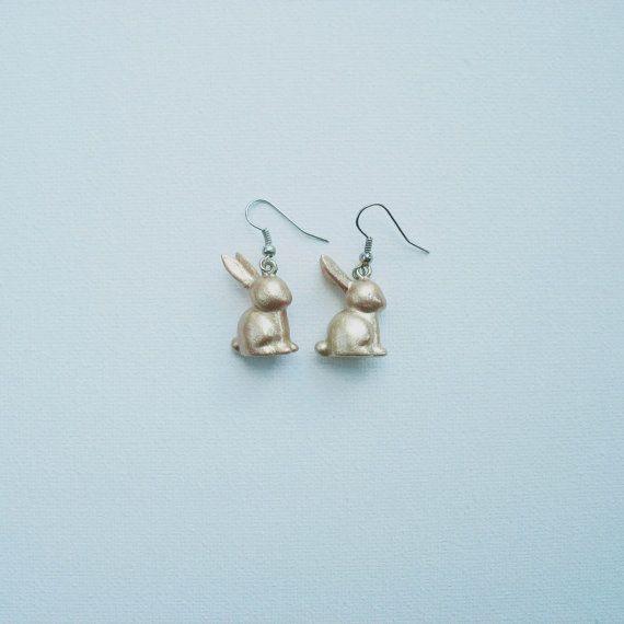 golden bunny earrings by OtinyuO on Etsy