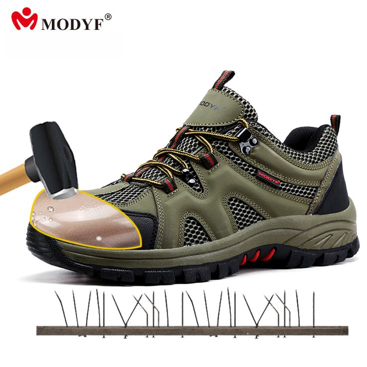 Modyf men Fall Winter steel toe cap work safety shoes casual breathable outdoor boots puncture proof footwear #Affiliate