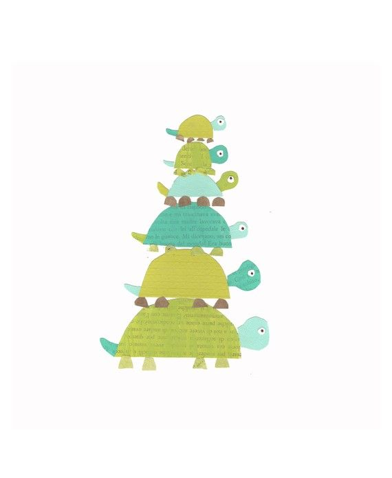 Turtle Family Children's Art Print  8x10 Eco by ChildrenInspire, $22.00