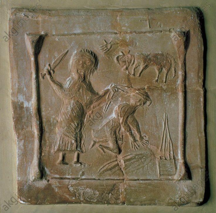 ABRAHAM SACRIFIE ISAAC / PALÉOCHRÉTIEN. Sculpture paléochrétienne, 6° siècle.  Abraham sacrifie Isaac.  Relief. Terre cuite.