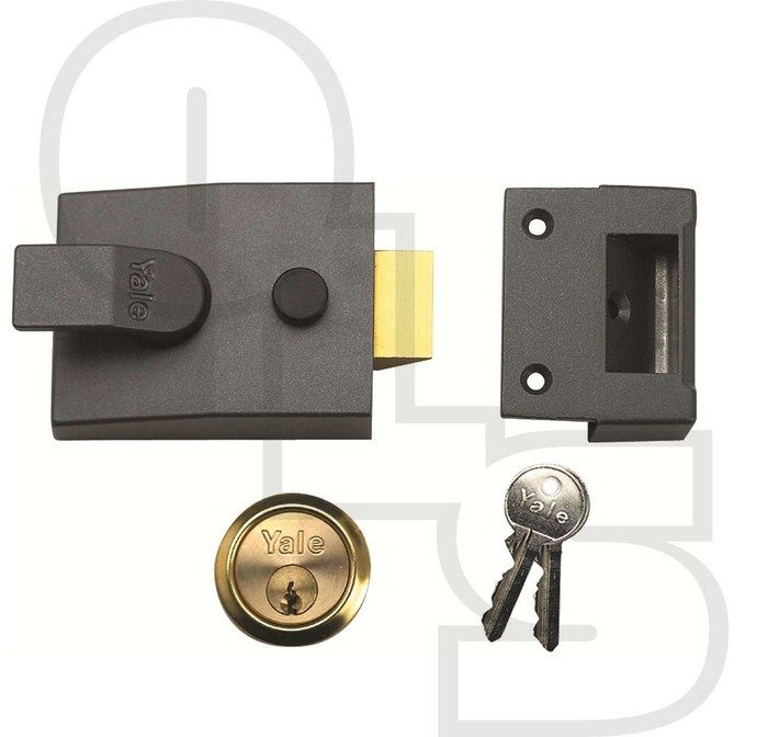 YALE 91 NON-DEADLOCKING NIGHTLATCH WITH 60mm BACKSET - Yale 91 Non-Deadlocking Nightlatch   Non-deadlocking nightlatches widely used on hotel doors. Supplied with 5 pin cylinder and 2 keys or as Case Only without the cylinder. Available in Grey case finish and Brass Cylinder finish only.