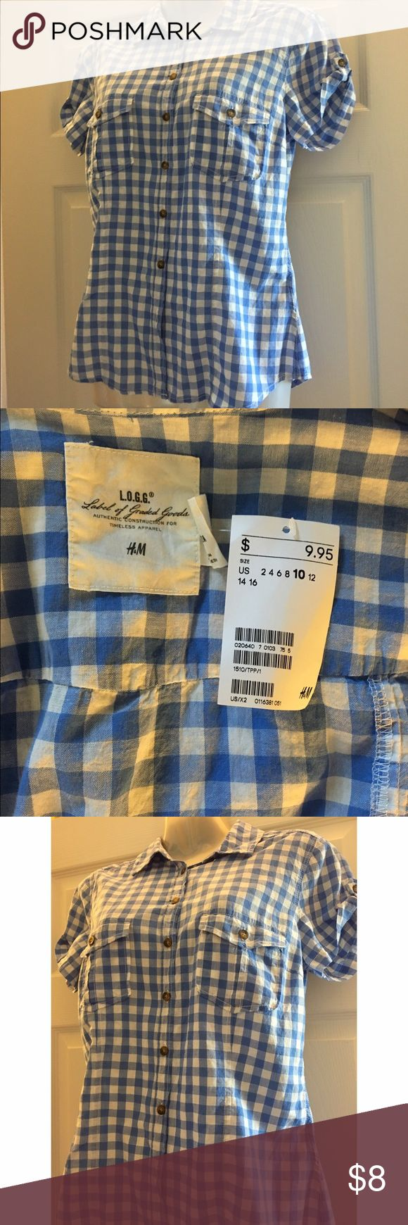 H&M L.O.G.G. Blue and White Tee Shirt New This is an H&M L.O.G.G. Blue and White Tee Shirt New With Tags Size 10 best fits as an Medium. H&M Tops Button Down Shirts