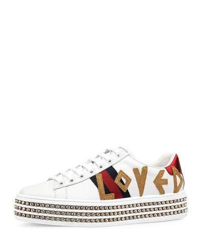 d62d616daf4 Gucci New Ace Loved Leather Trainer With Crystal Embellished Platform