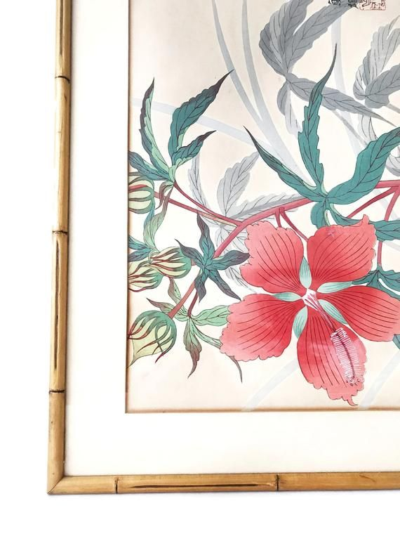 Vintage Japanese Watercolor Floral Watercolor Painting Flower