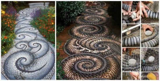 Alei de gradina realizate cu mozaic din pietre - idei in imagini pline de inspiratie