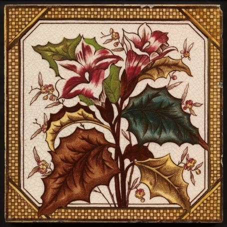 Antique Victorian Print & Tint, Floral Ceramic Tile