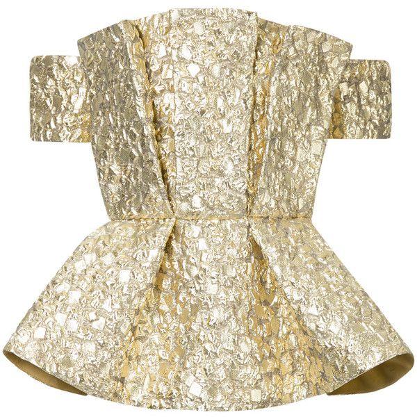 Bambah metallic peplum blouse (4.680 RON) ❤ liked on Polyvore featuring tops, blouses, metallic, brown top, short-sleeve blouse, peplum top, off-shoulder blouses and metallic blouse