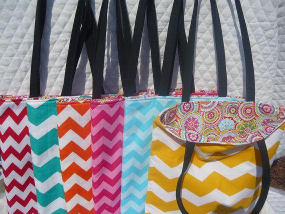 Bridesmaids gift set 6 Assorted Chevron print Reversible tote bag on Etsy, $60.00
