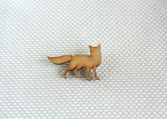 Wooden Fox Brooch by ShopSparkleMotion on Etsy. A delightful natural wooden fox brooch with beautiful darkened edges.  https://www.etsy.com/uk/listing/218360548/wooden-fox-brooch-woodland-animal?ref=shop_home_active_1