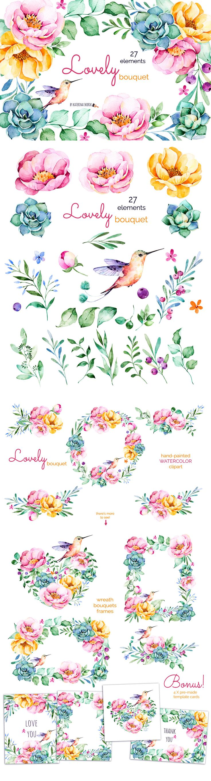 The Ultimate Artistic Design Bundle #DesignCuts #bouquet #flower #plant…