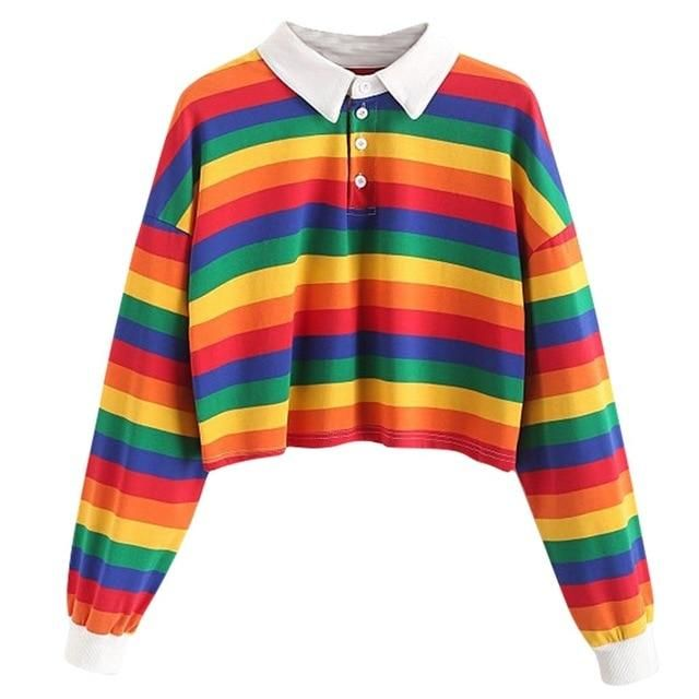 NOMUSING Crewneck Sweatshirt Women Aesthetic Color Stripe Button Long Sleeve Pullover Hoodies Jumper Tops Blouse Tunic