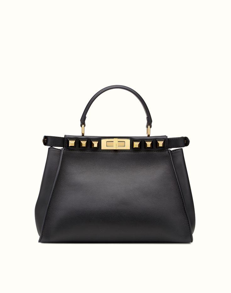 FENDI PEEKABOO REGULAR GOLD EDITION - black leather handbag with studs