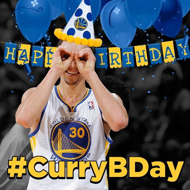 Happy Birthday Stephen Curry!!! #warriors guard turns 25 today and well celebrate by giving away an autographed photo of him. Details at warrior.com/currybday #CurryBDay