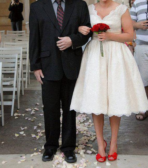 Short Lace Wedding Dress Summer Beach Wedding Gown By