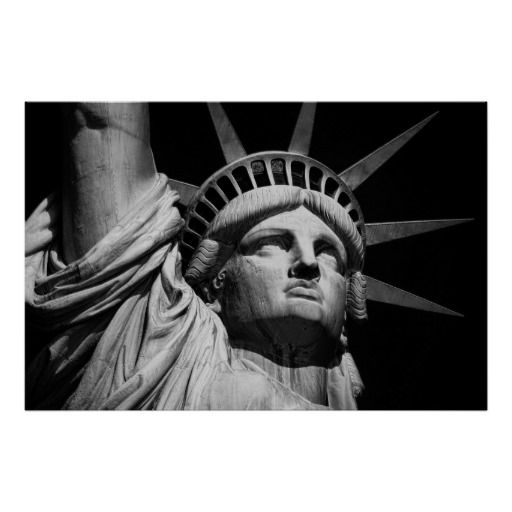 Close up black white statue of liberty new york poster