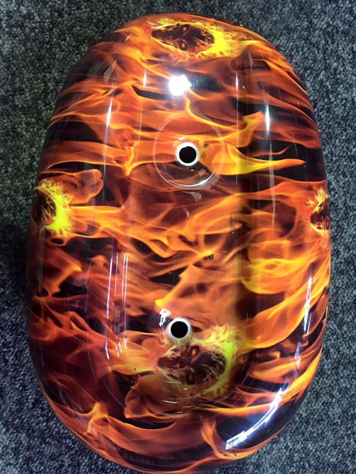 Harley Davidson Air filter with flame and skull hydrographic