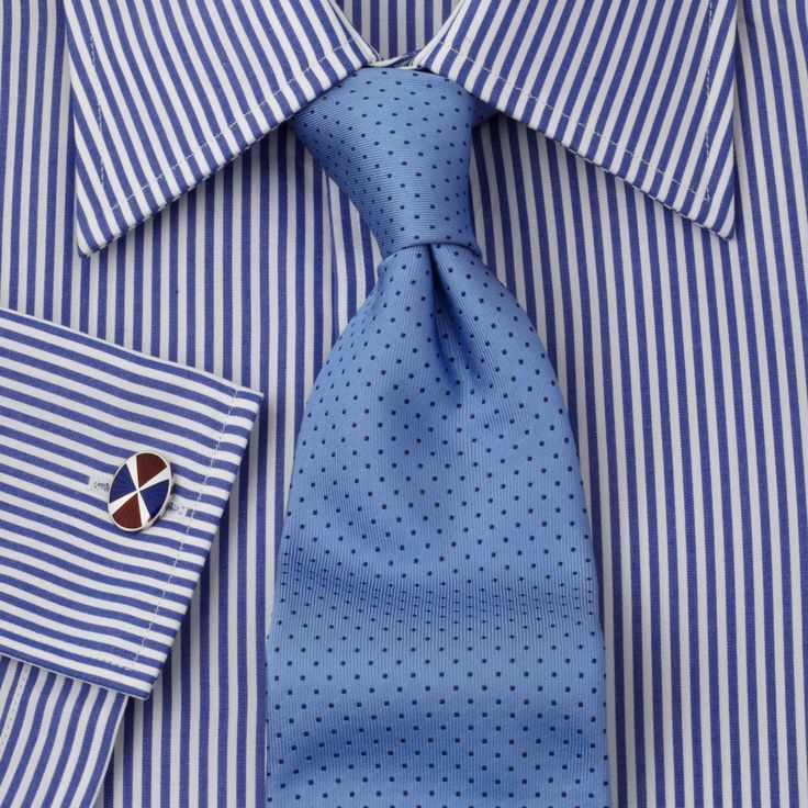 Striped shirt blue tie great knot with a dimple stripes for Striped shirt with tie