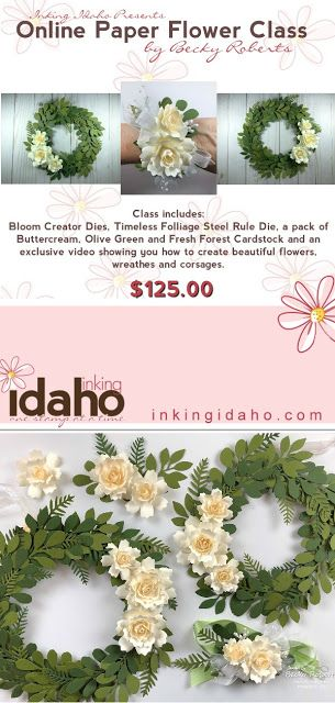 Inking Idaho Online Paper Flower Class Includes Supplies And Video