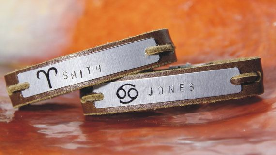 Free shipping – Personalised - men's leather bracelet - Aluminum plate - Horoscopes - Hand Stamped - Couple Bracelets  Ask a Question $76.90 USD