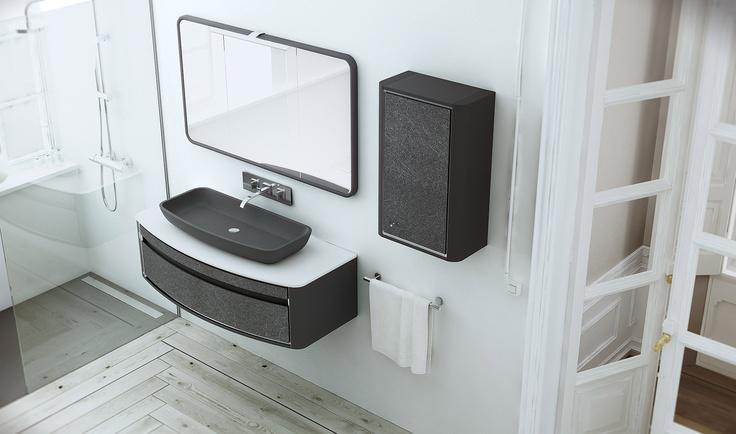Fiora: tutta l'eleganza e la sobrietà del nero #design #arredamento #bathroom #furniture #arredobagno www.gasparinionline.it
