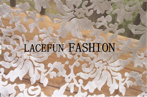 sale off White Embroidered Organza Lace Fabric, retro floral lace, 2013 Spring Summber new Collection on Etsy, $38.00