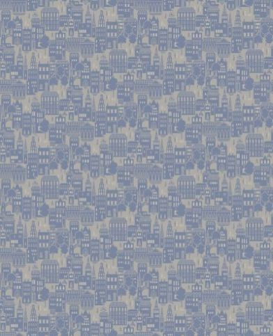London Lights Blue Print (950707) - Sophie Conran Wallpapers - A tiny scale design of London street life with buildings and figures in random pattern. Created with a raised faux flock effect on a metallic base. Shown in the mid Blue colourway. Please request sample for true colour match.