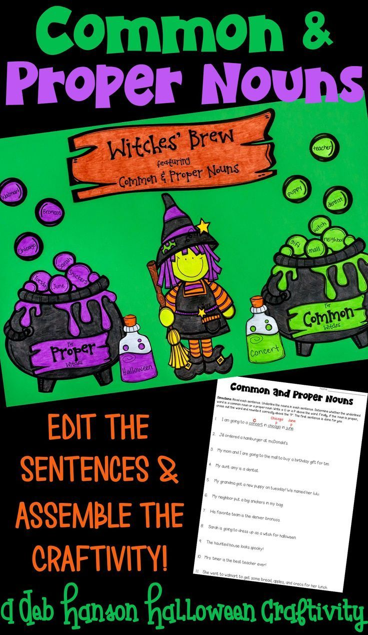 Halloween craftivity that focuses on common nouns and proper nouns! Students edit the sentences on the worksheet, and then sort the common nouns and the proper nouns on the worksheet.